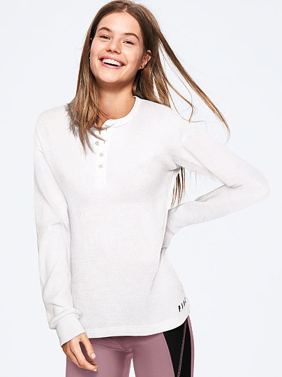 Long Sleeve Waffle Henley by Victoria's Secret